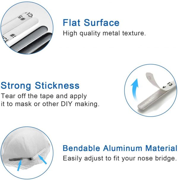 320PCS Adhesive Back Aluminum Strips Nose Wire Nose Bridge for 90MM Metal Flat Nose Clips Nose Bridge Bracket DIY Wire for Sewing Crafts